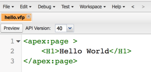 Hello world Visualforce page