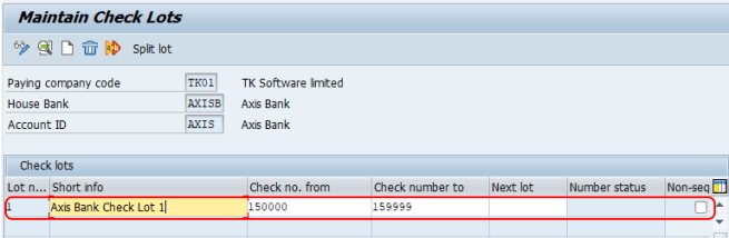 Maintain check lots in SAP