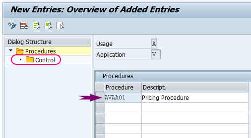 SAP Pricing procedure control data