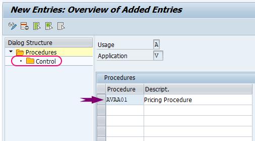 SAP Pricing procedure control data