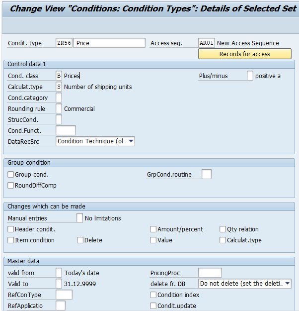 create condition type in SAP SD