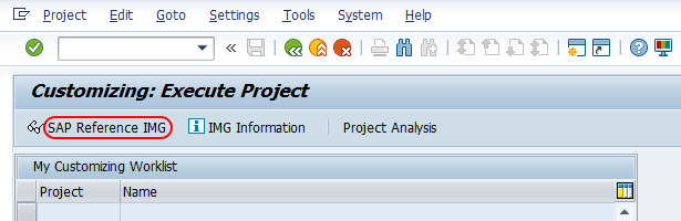 customizing execute project IMG SAP