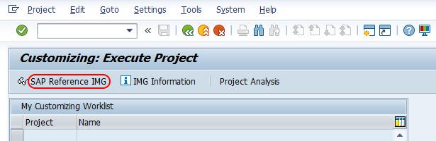 customizing execute project IMG SAP
