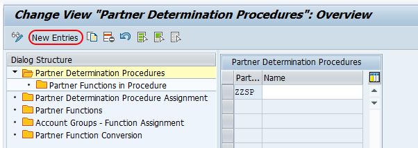 partner determination procedures new entries sap