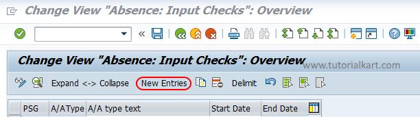 Absence types inputs SAP