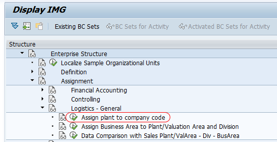 Assign plant to company code menu path SAP