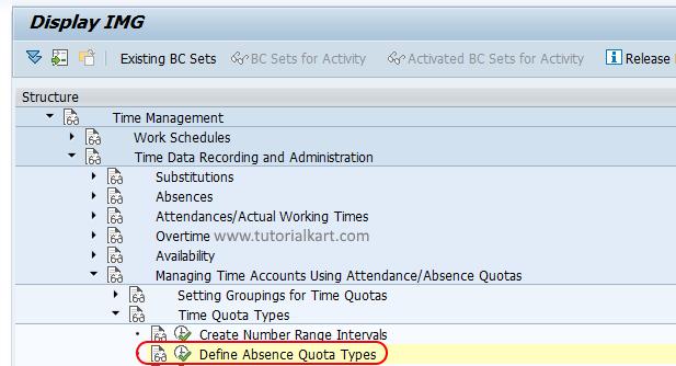 Define absence quota types SAP