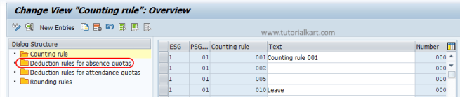 deduction rules for absence quotas SAP
