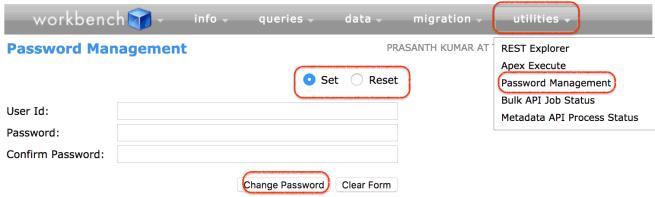 password reset in Workbench Salesforce