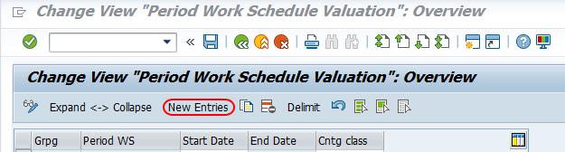 period work schedule valuation saP