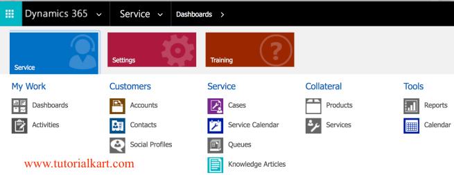 Microsoft Dynamics 365 for Customer Service.