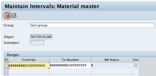 number ranges for material type SAP