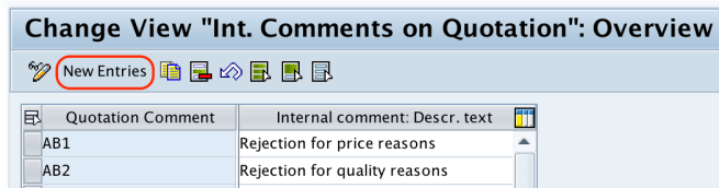 Comments on quotation new entries SAP
