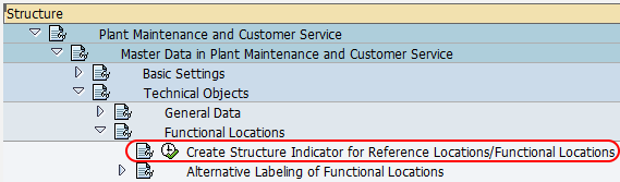 Create structure indicator for reference locations functional locations