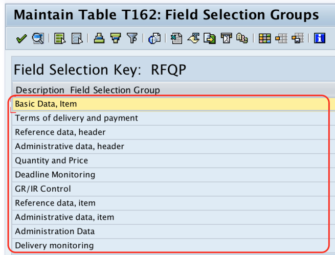 Field Selection groups RFQ
