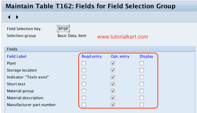Field selection group SAP Quotation