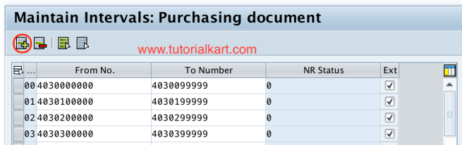 Insert number range interval PO in SAP