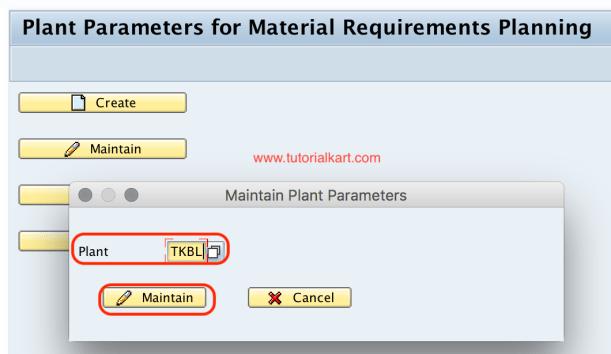 Maintain plant parameters SAP