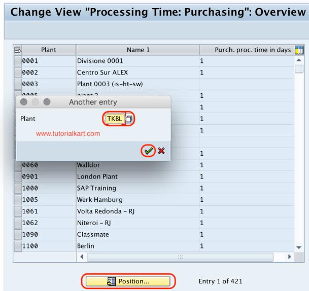 Processing time purchasing SAP
