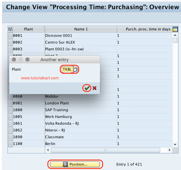 Processing time purchasing SAP
