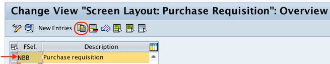 Screen layout purchase requisition new entries