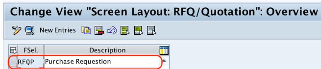 field selection group key RFQ