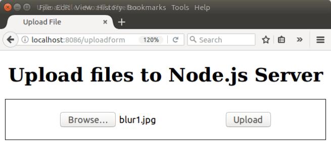 Node.js Upload File - File Selected