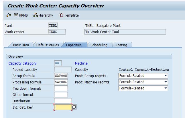 work center capacity
