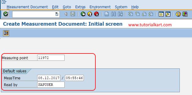 create measuring document initial screen SAP