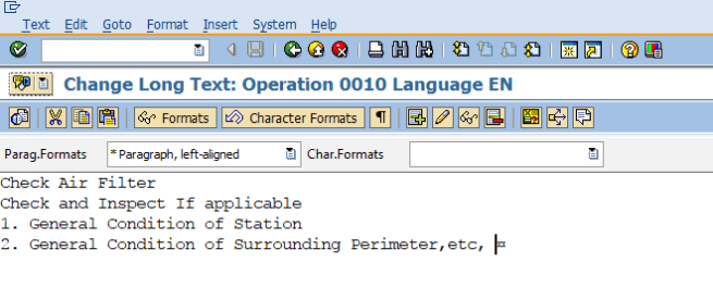 long text task list SAP