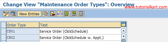 order types new entries SAP