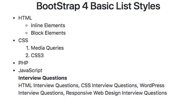 Bootstrap 4 List Style Example Group Checkbox Dropdown Striped
