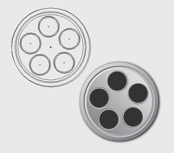Film Can & Clapper Board vector in Adobe Illustrator CS5 - Step 08 b