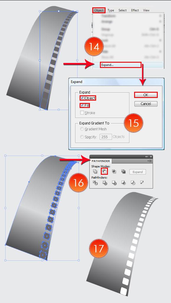 Film Can, Reel and Clapper Board Vector Tutorial in Illustrator CS5 – Part III 44