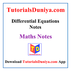 Differential Equations Notes PDF
