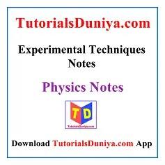Experimental Techniques Notes PDF