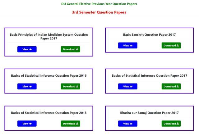 DU Previous Year Question Papers PDF