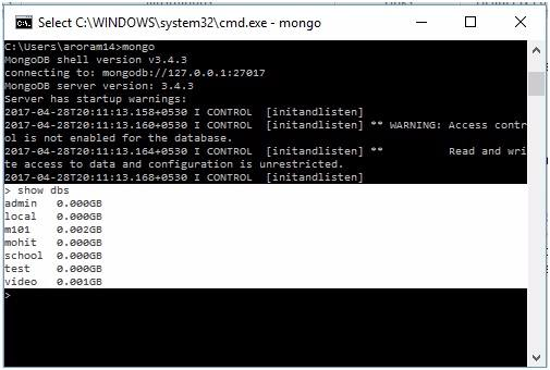 MongoDB create database & drop database command