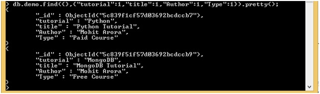 MongoDB Inclusion Projection Examples
