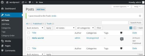 WordPress delete posts