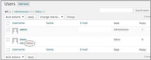 WordPress Delete Pages