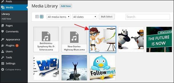 WordPress edit media