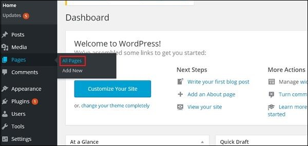 WordPress Edit Pages