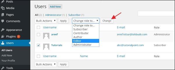 WordPress Edit Users