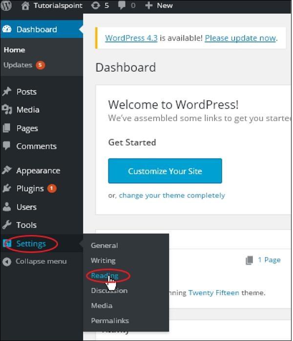 WordPress Reading Setting