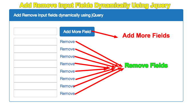 Add Remove Input Fields Dynamically Using Jquery