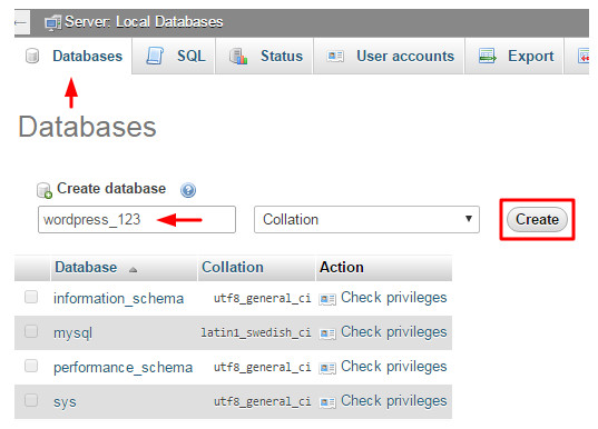 Atur database Wampserver