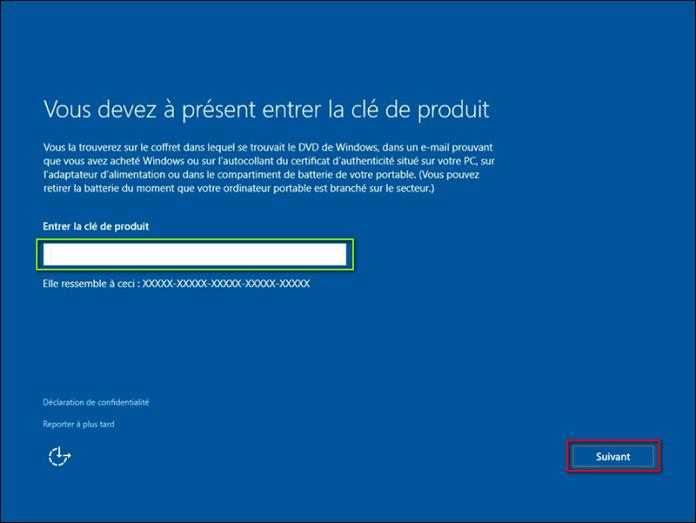 Clé d'activation Windows 10 professionnel