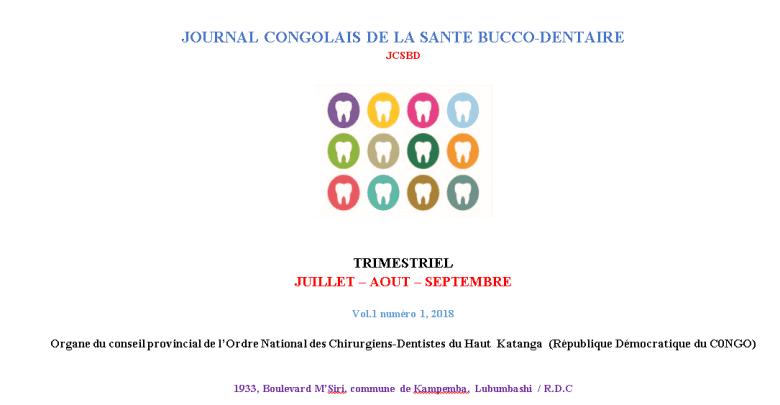 Journal congolais de la sante bucco-dentaire