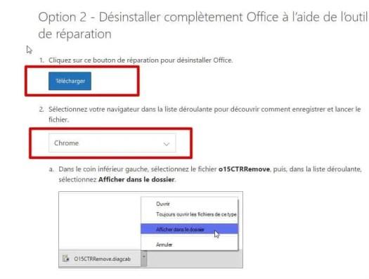 page de téléchargement office removal tool